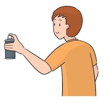 Vettore dell'uomo che usa la bomboletta spray
