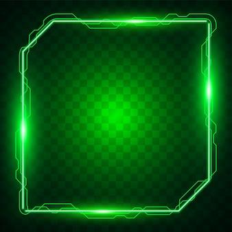 Vettore della bandiera di tecnologia verde. design banner quadrato.