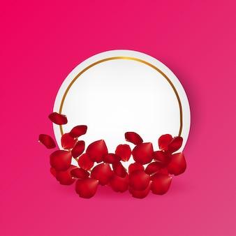 Vettore della cartolina d'auguri dei petali di rosa
