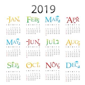 Vettore della cartolina d'auguri del buon anno 2019 del pianificatore del calendario