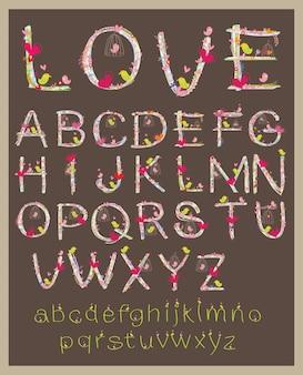 Vettore della lettera di progettazione di carattere di san valentino.