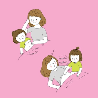 Vettore della mamma del graffio della mamma e del bambino del fumetto.