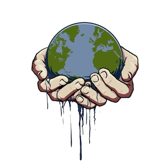 Vettore della mano con il mondo del globo