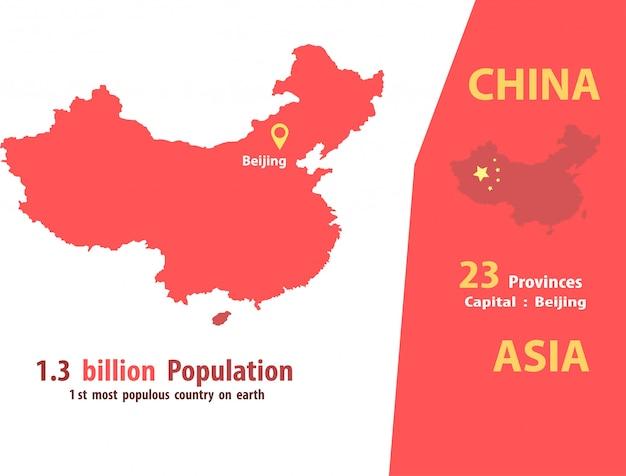 Vettore della mappa della cina numero di popolazione e geografia del mondo