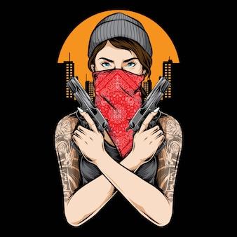 Vettore della pistola della tenuta della ragazza del gangster