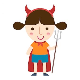 Vettore della ragazza del diavolo di halloween