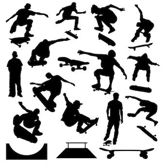 Vettore della siluetta di arte di sport urbana del pattinatore