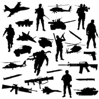 Vettore della siluetta di simbolo di clipart di guerra di guerra dell'esercito