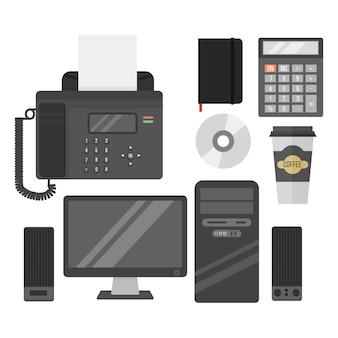 Vettore delle attrezzature d'ufficio del computer