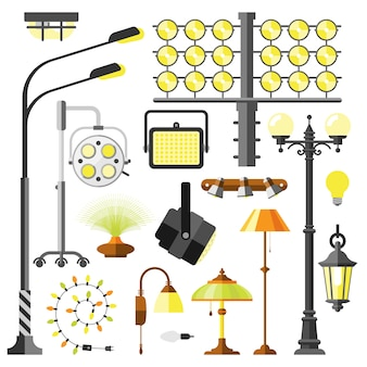 Vettore delle attrezzature elettriche di stili delle lampade