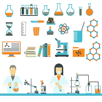 Vettore delle icone di scienza e di chimica di simboli del laboratorio.