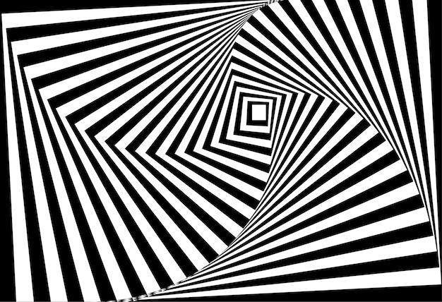 Vettore di 3d illusione ottica bianco e nero contorto
