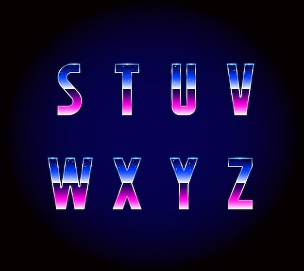 Vettore di alfabeto di carattere retrò fantascientifico anni '80