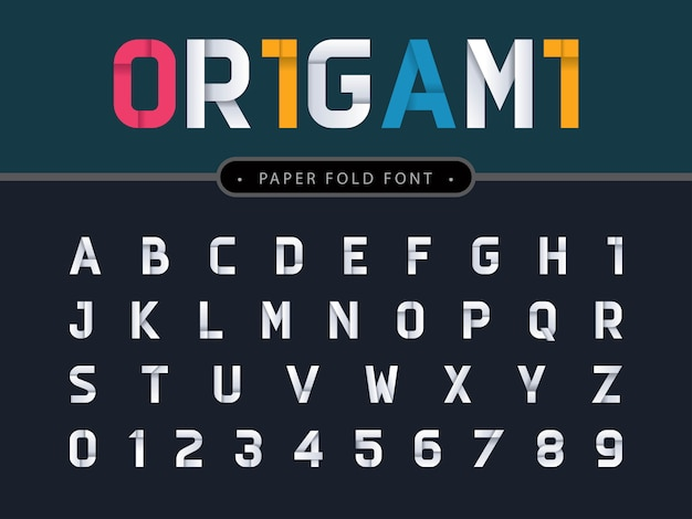 Vettore di alfabeto di origami lettere e numeri