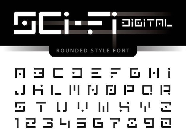 Vettore di alfabeto futuristico lettere e numeri