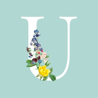Vettore di alfabeto lettera maiuscola floreale u.