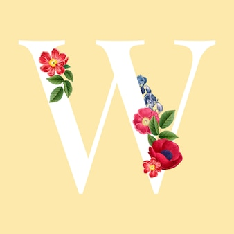 Vettore di alfabeto lettera maiuscola floreale w