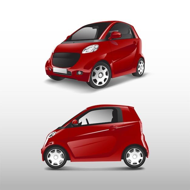 Vettore di auto ibrida compatta rossa