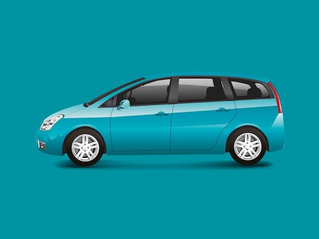 Vettore di auto monovolume blu mpv