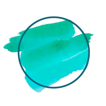 Vettore di bandiera dell'acquerello verde rotondo