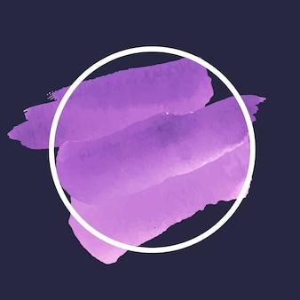 Vettore di bandiera dell'acquerello viola rotondo
