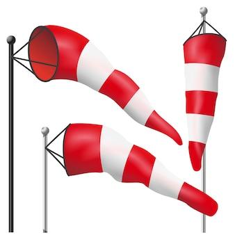 Vettore di bandiera velocità del vento. gonfiato dal vento su un palo. illustrazione isolata windsock del tempo