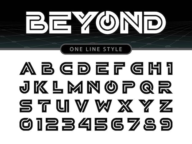 Vettore di carattere arrotondato stilizzato e alfabeto