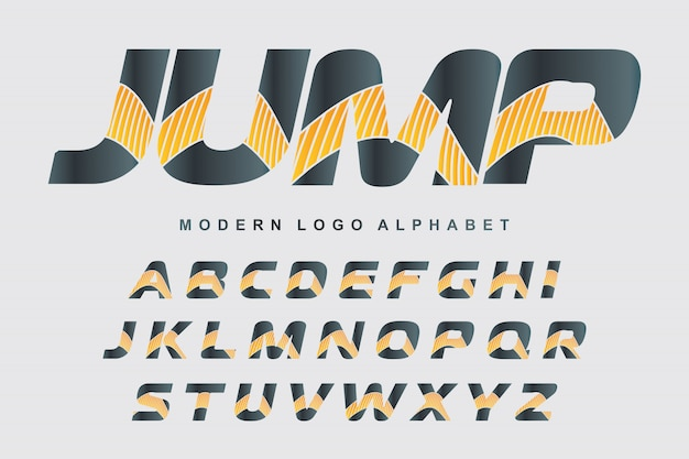 Vettore di carattere colorato stilizzato e alfabeto per i disegni del logo