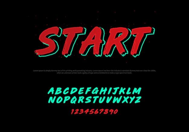 Vettore di carattere moderno stilizzato e alfabeto. carattere tipografia corsivo
