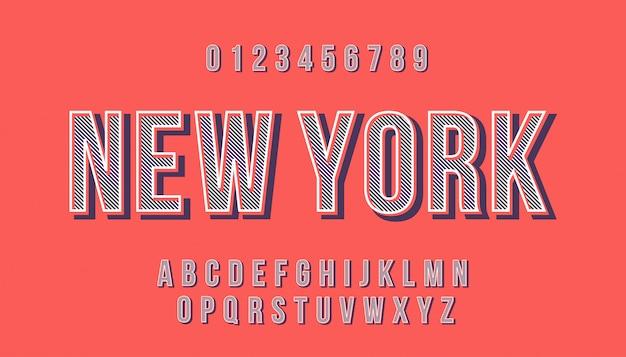 Vettore di carattere moderno stilizzato e alfabeto