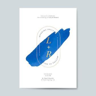 Vettore di carta di invito matrimonio blu