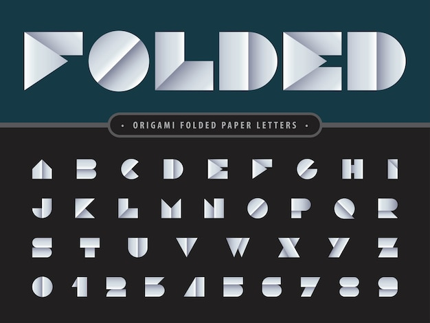 Vettore di carta piegata alfabeto lettere e numeri