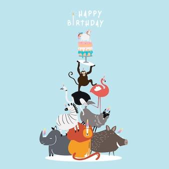 Vettore di cartolina a tema di compleanno degli animali