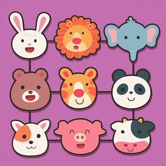 Vettore di cartone animato con faccia di animali