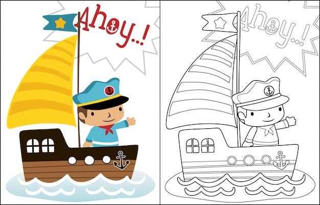 Vettore di cartone animato di piccolo skipper sulla barca a vela