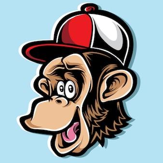 Vettore di cartone animato scimpanzé