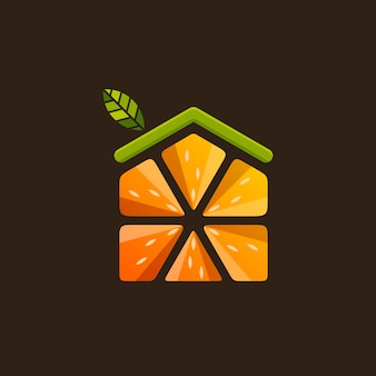 Vettore di casa frutta logo