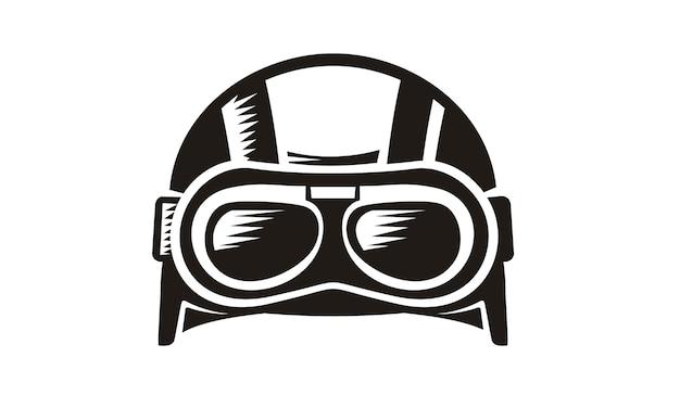 Vettore di casco retrò goggle