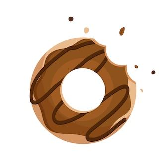 Vettore di ciambella al cioccolato isolato