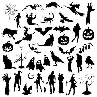 Vettore di clipart della siluetta di festa del partito di halloween