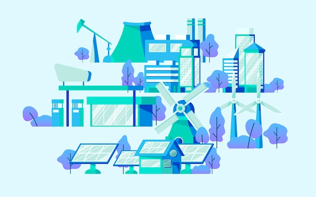 Vettore di concetto di risparmio energetico in blu