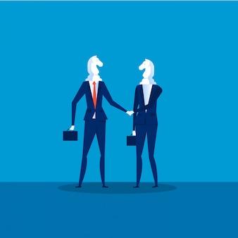 Vettore di cooperazione aziendale. due uomini d'affari cavalli di scacchi nero agitando la mano per unire le imprese al successo. illustrazione