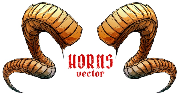 Vettore di corni di animali a spirale taglienti grandi del fumetto
