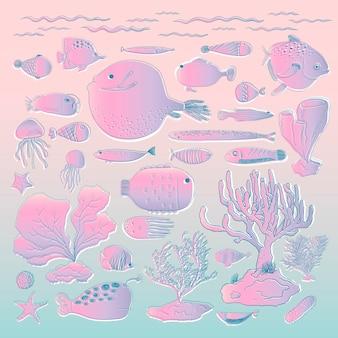 Vettore di creature sottomarine