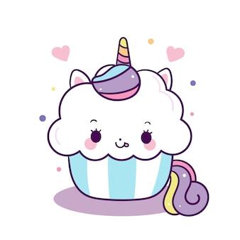 Vettore di cupcake unicorno carino