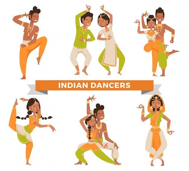 Vettore di dancing delle coppie indiane di bollywood