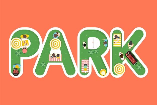 Vettore di design estate sentire con la parola park