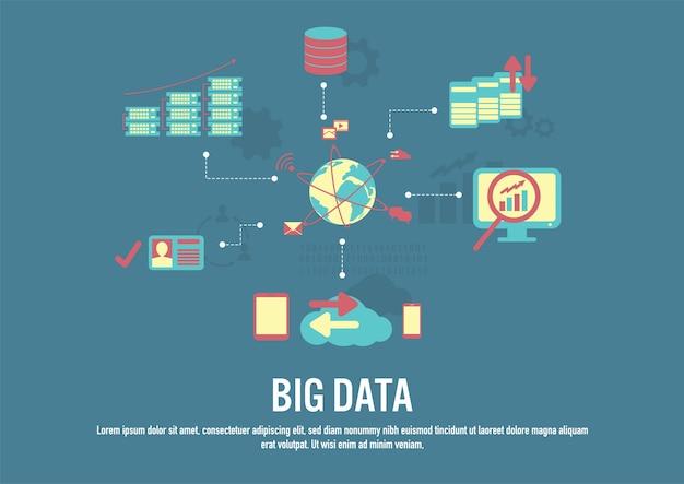 Vettore di design piatto del concetto di big data