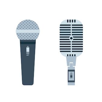 Vettore di design piatto del microfono