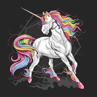 Vettore di dettaglio maestoso capelli fullcolour unicorno